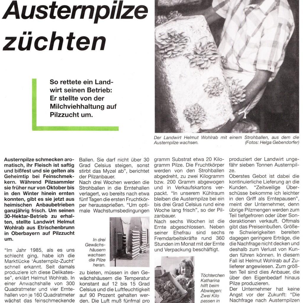 """Pressebericht in der Zeitschrift """"Unser Land"""" vom Juni 1990 über die Austernpilz-Zucht von Helmut Wohlrab"""