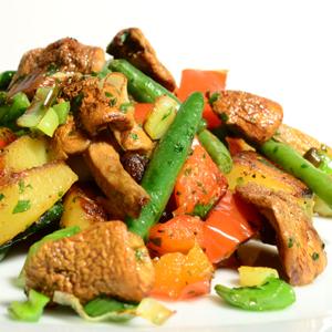Agaricus blazei mit buntem Gemüse