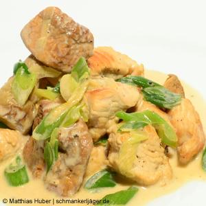 Hühner-Geschnetzeltes mit Mandelpilzen.