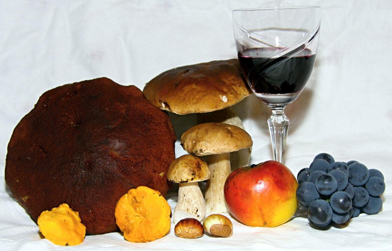 Pilze und Wein, das lasse sein