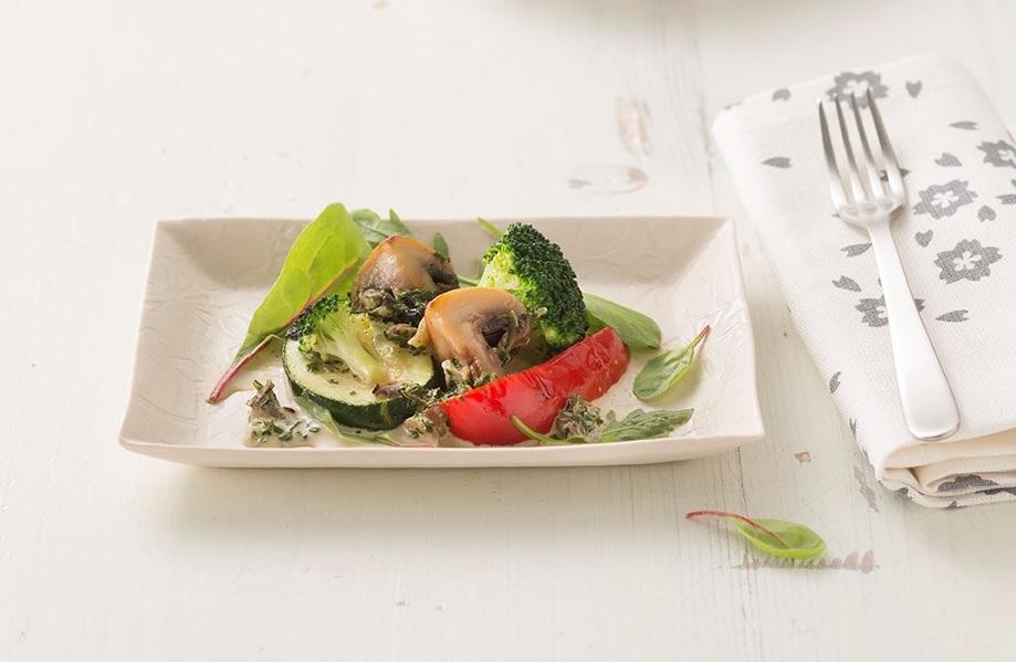Pilz-Gemüse-Auflauf mit GREEN CRAMBLE