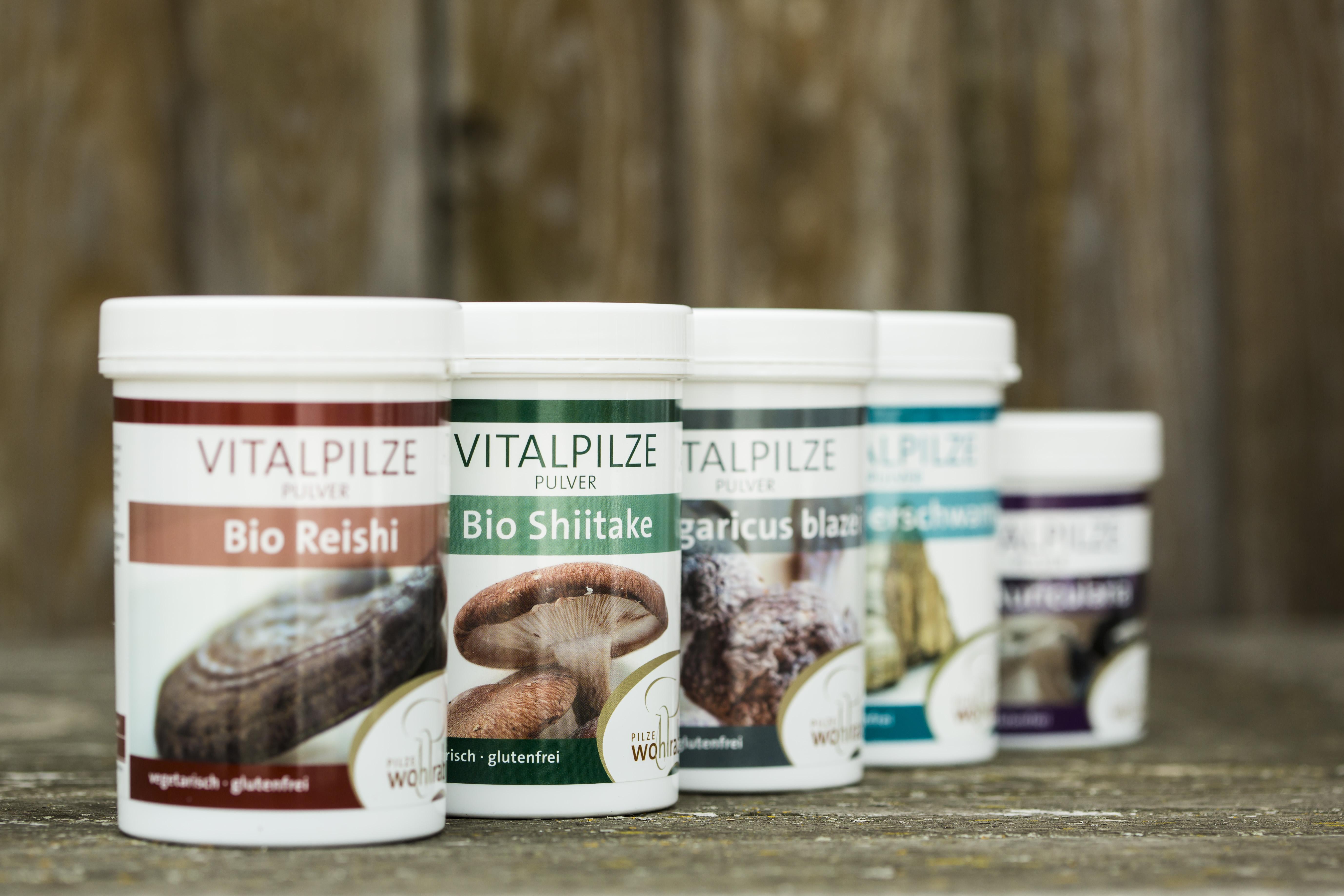 Eine Auswahl an Produkten von Pilze Wohlrab.