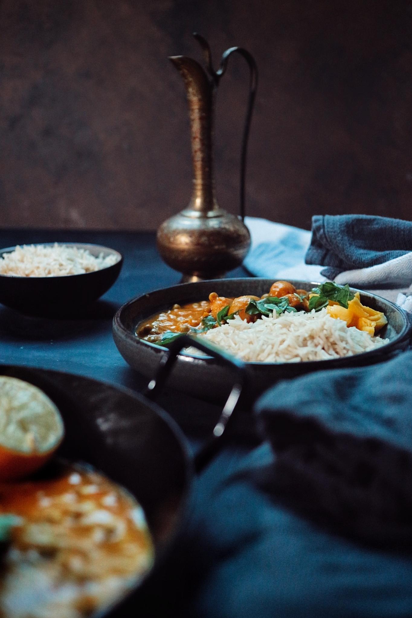 Mango-Curry mit Champignons
