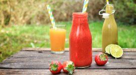 Erdbeer-Limetten-Smoothie mit Maitake